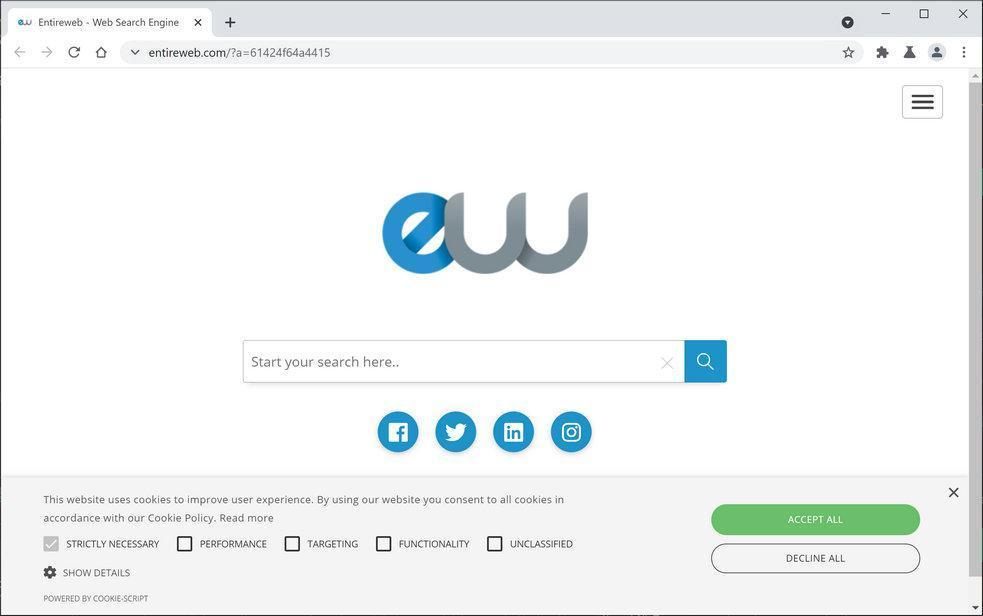 Image: Chrome browser is redirected through EntireWeb.com