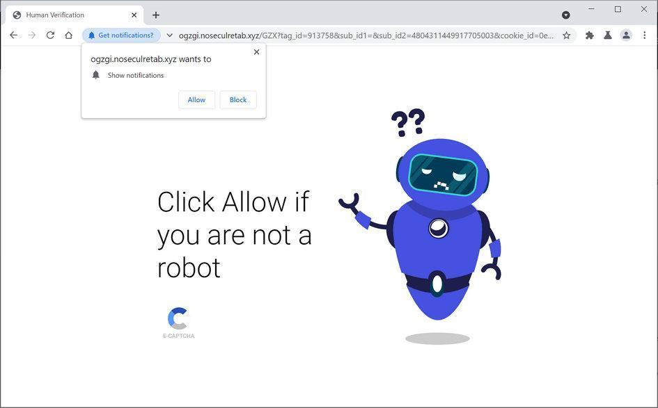 Image: Chrome browser is redirected to Noseculretab.xyz