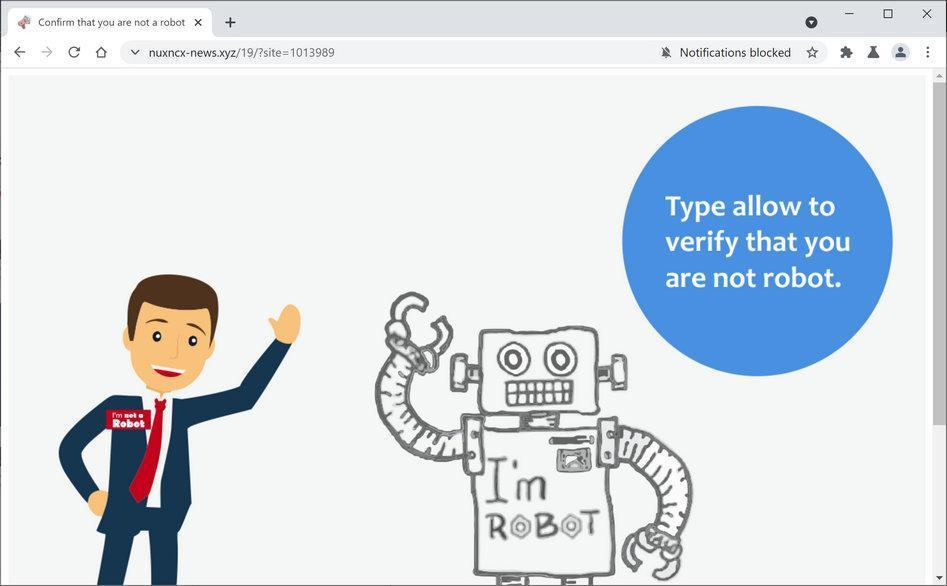 Image: Chrome browser is redirected to Nuxncx-news.xyz