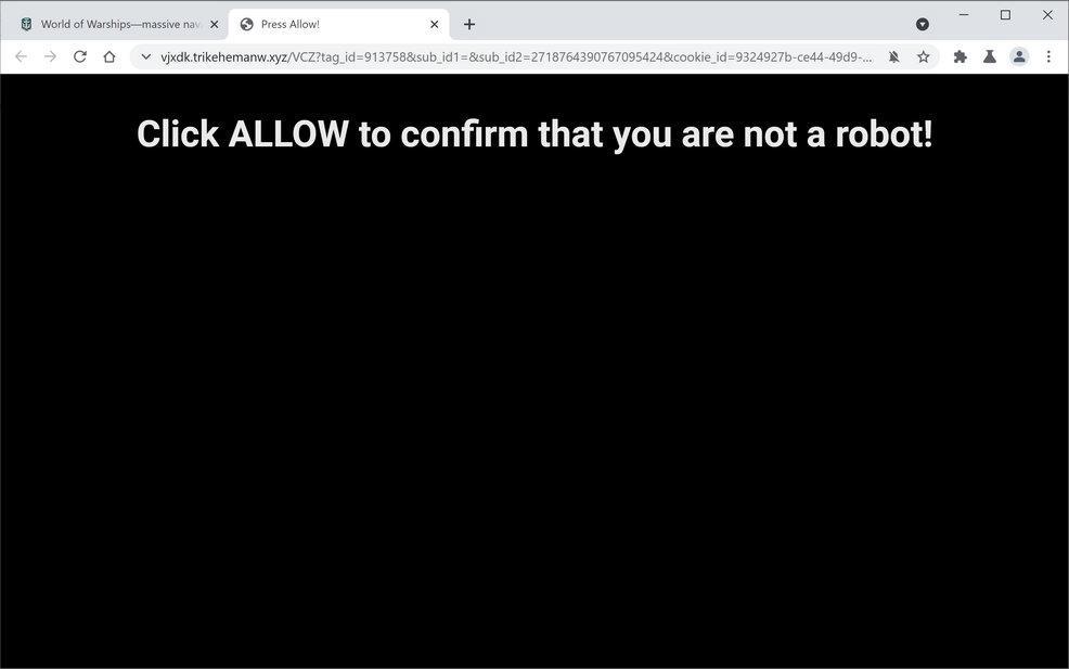 Bild: Chrome-Browser wird auf Trikehemanw.xyz umgeleitet