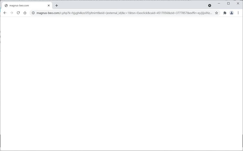 Image: Chrome browser is redirected through Magnus-beo.com
