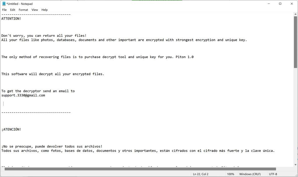 Image: Piton ransomware