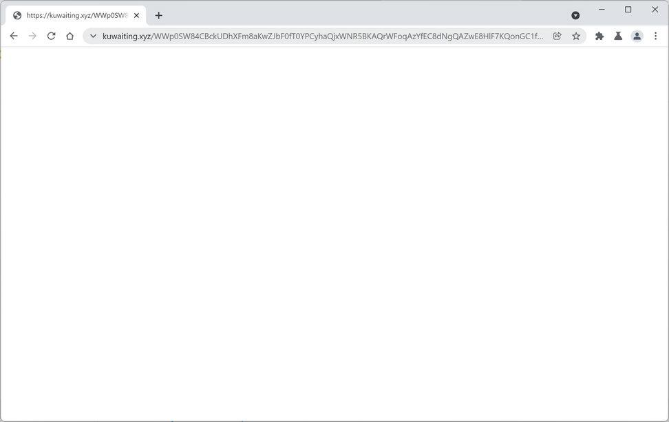 Image: Chrome browser is redirected to Kuwaiting.xyz