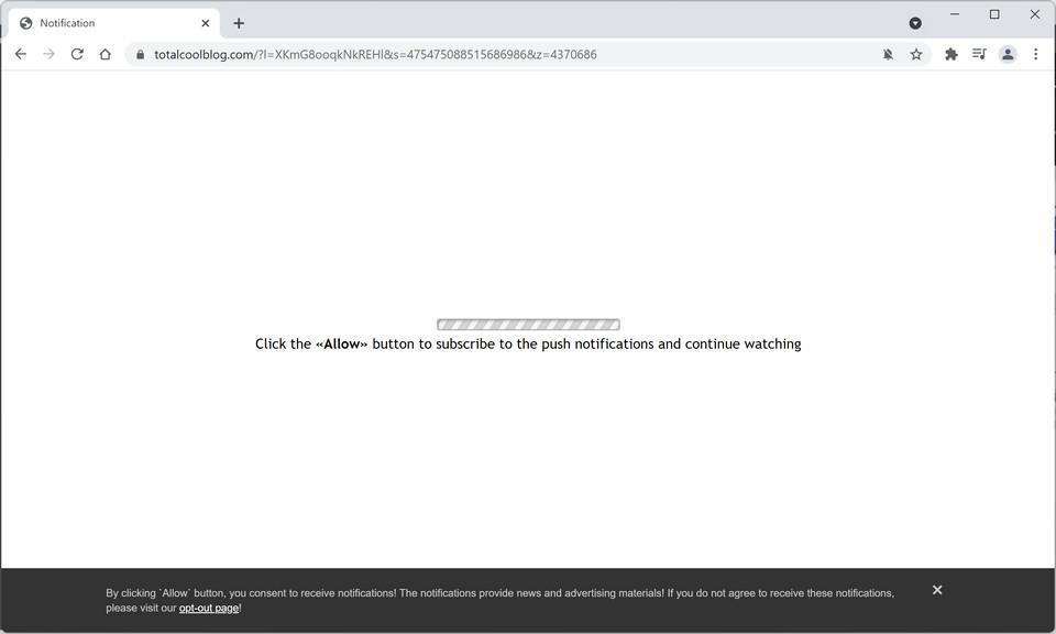 Image: Chrome browser is redirected to Totalcoolblog.com