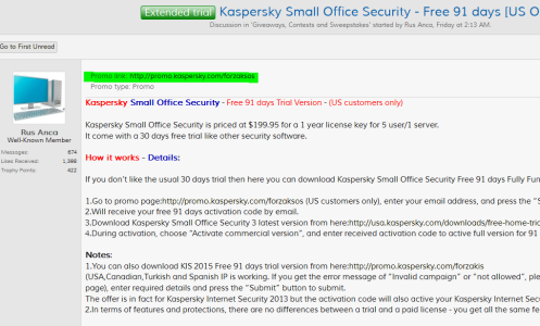 Expired - Kaspersky Small Office Security Free 90 days [US