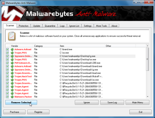 [Image: Infections found by Malwarebytes]
