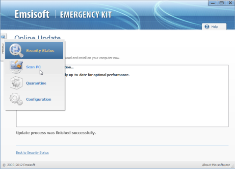 Scan tab on Emsisoft Emergency Kit