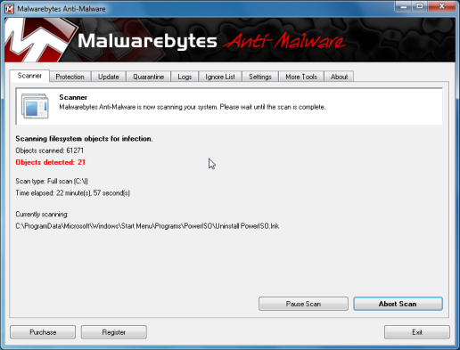 Malwarebytes scanning for Win 7 Antivirus Pro 2013